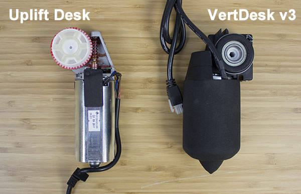 Uplift Desk and VertDesk v3 Side of Motor Comparison