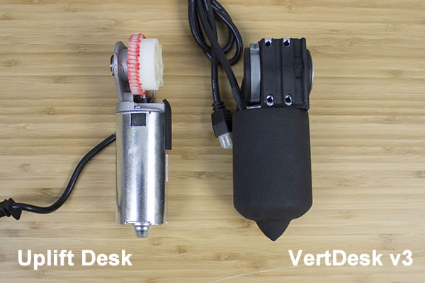 Uplift Desk and VertDesk v3 Top of Motor Comparison