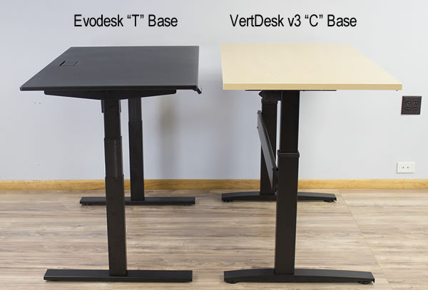 EvoDesk T base and VertDesk v3 C base