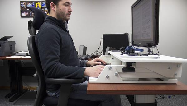 VertDesk Converter at sitting height