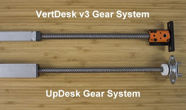 UpDesk gear vs. VertDesk v3 gear System