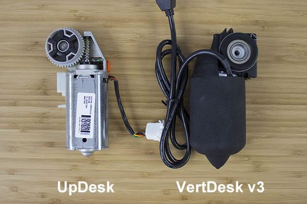 UpDesk and VertDesk v3 side motor comparison