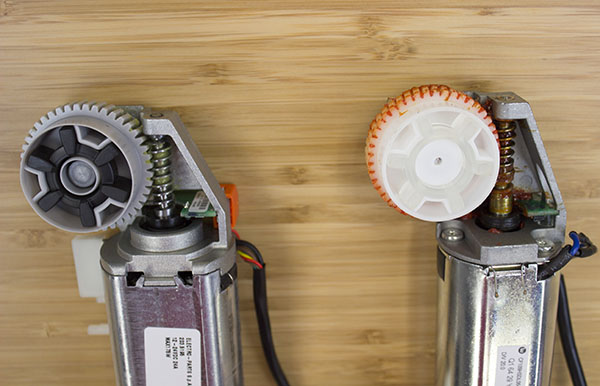 Better quality Linak motor (left) vs. Uplift motor (right)