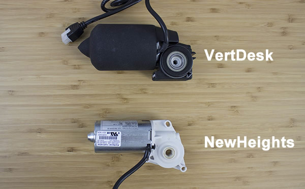 Side comparison of VertDesk and NewHeights motors