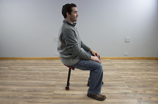 Seated with 90 degree position for knees