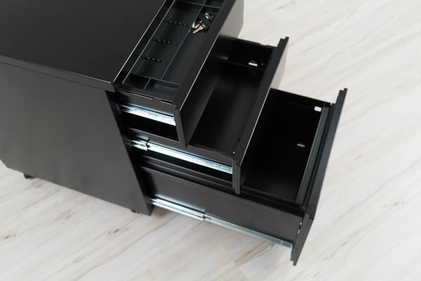 Drawers open on full size pedestal