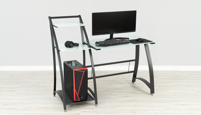 Safco Xpressions Glass Gaming Desk with Shelves