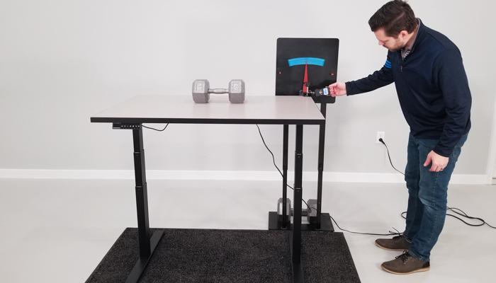 "SmartDesk 2 BE Wobble Deflection Test Setup @ 42"""