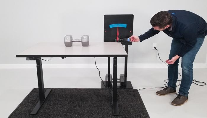 "SmartDesk 2 BE Wobble Deflection Test Setup @ 30"""