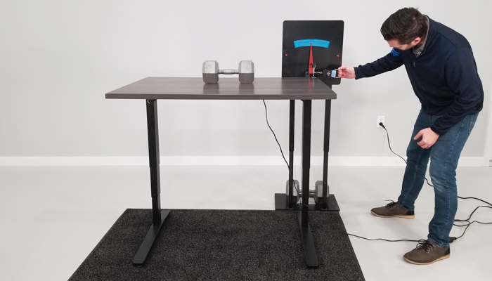 Uplift Desk v1 Wobble Deflection Test Setup @ 42""
