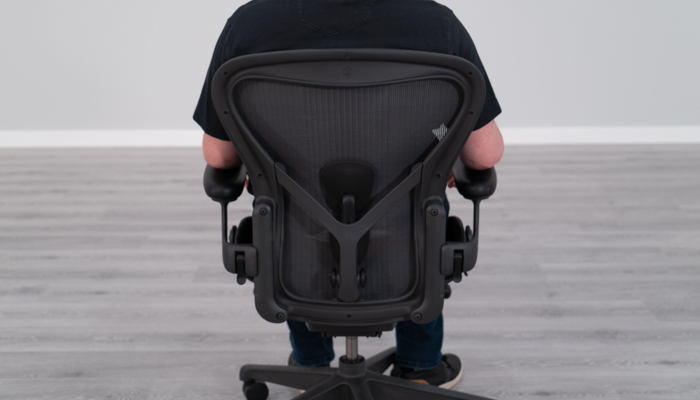 Back view of Aeron while seated