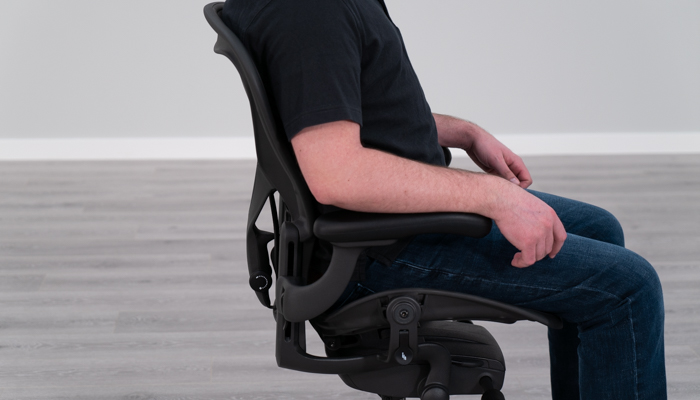 Aeron's backrest while seated in chair