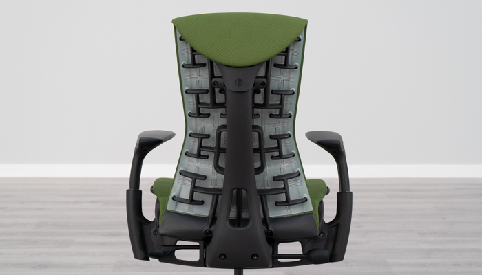 Pixelated backrest of Embody chair
