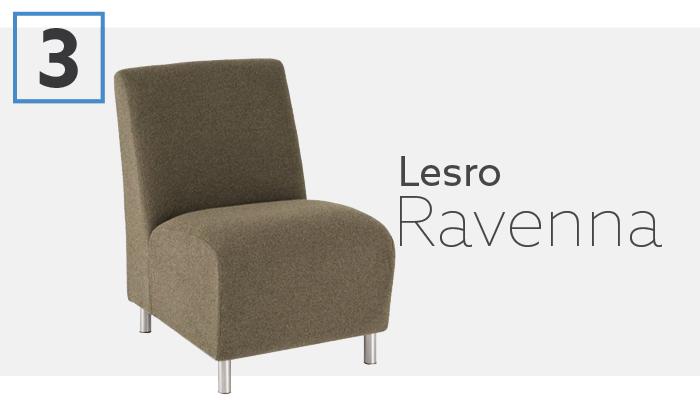 Lesro Ravenna Series Fully Upholstered Armless Waiting Chair