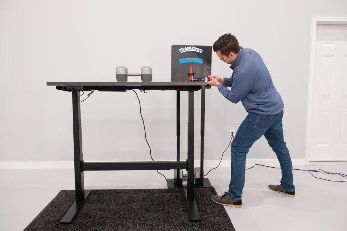 """Uplift Desk v2 Commercial Wobble Deflection Test Setup @ 46"""""""