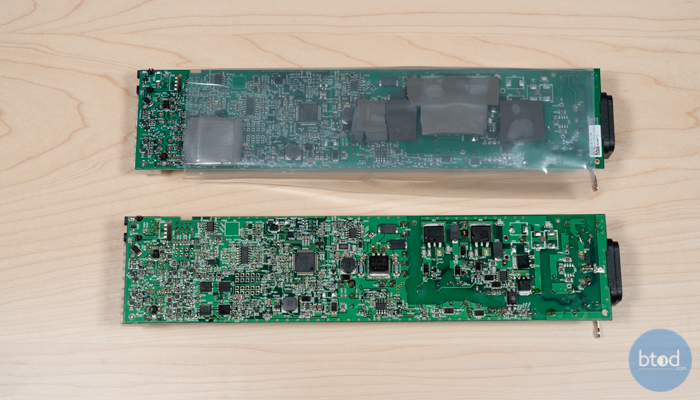 Showing the Bottom of the Board With and Without The Head Conductive Pads