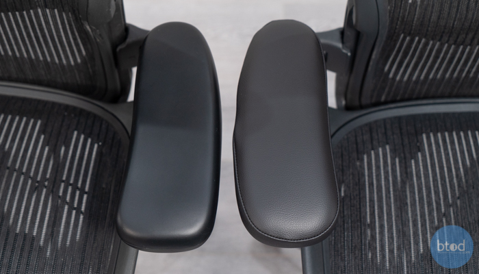 Top Side of Arm Pads on BTOD vs. Madison Seating (right)
