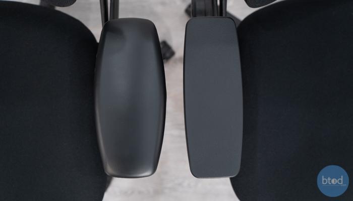 Armrest Pad Shape Leap v1 (left) vs v2