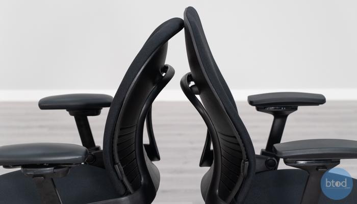 Backrest Thickness Leap v1 (left) vs v2