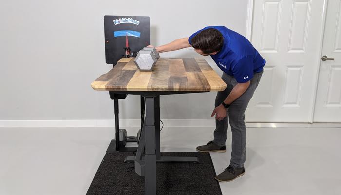 "VARIDESK Rocking Deflection Test Setup @ 42"""