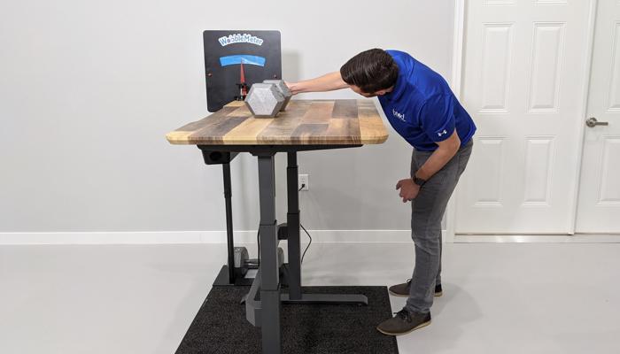 "VARIDESK Rocking Deflection Test Setup @ 46"""