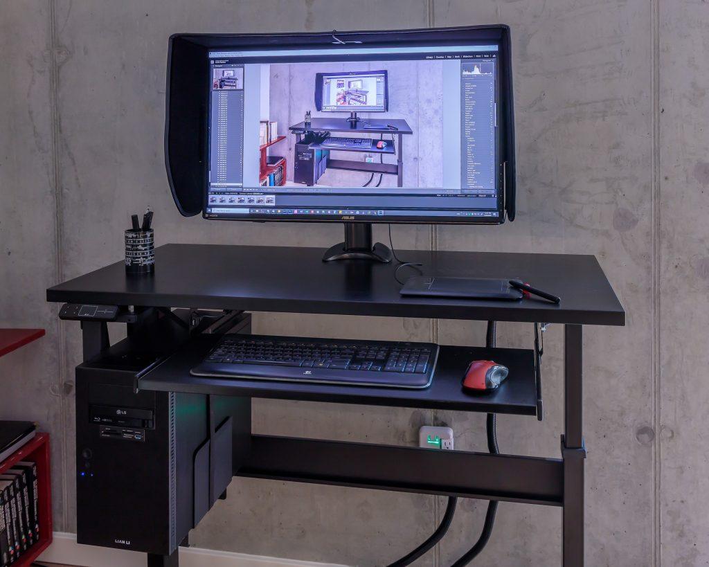 "24"" x 48"" Black Laminate Top with Black VertDesk Standing Desk Frame"