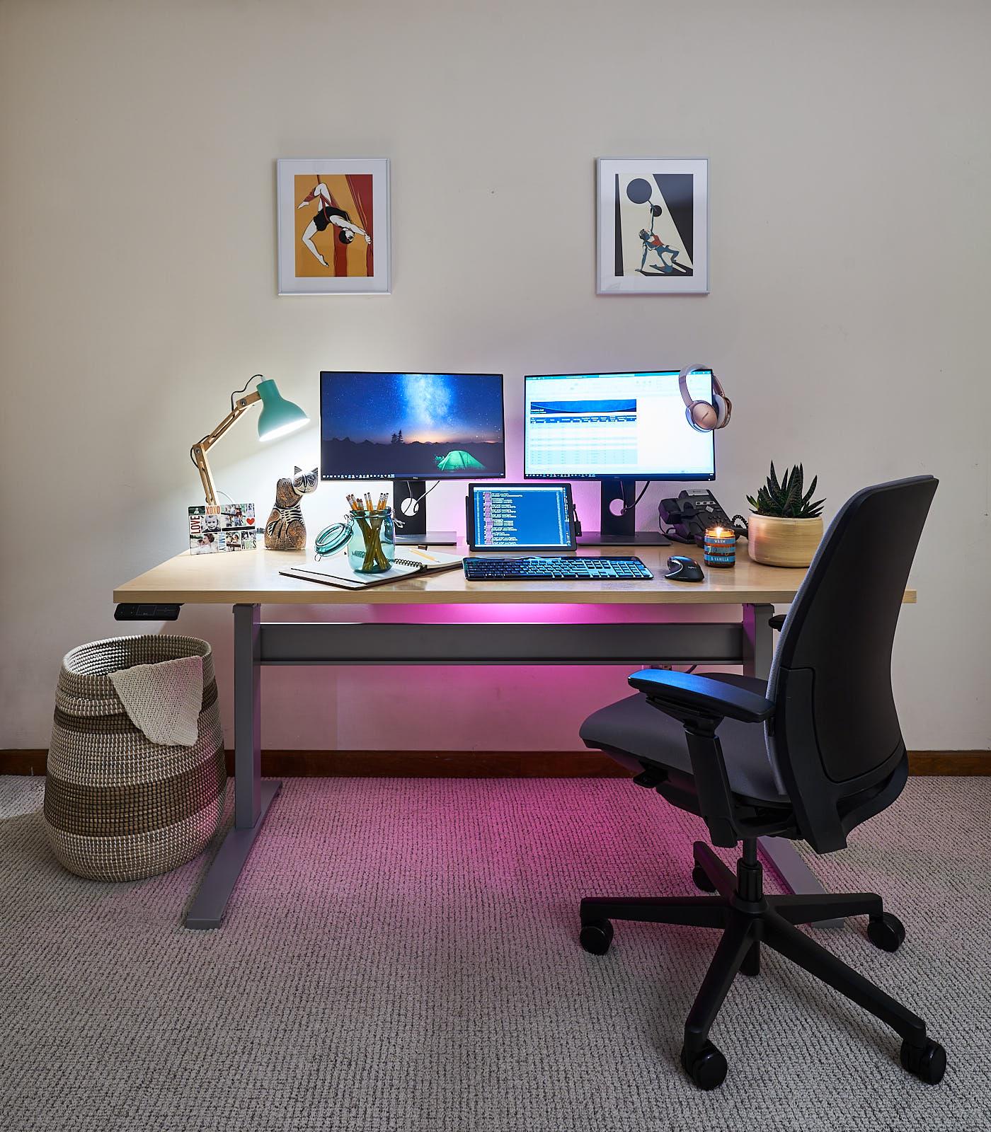 "30"" x 68"" Hardrock Maple Laminate Top with Silver VertDesk Standing Desk Frame"