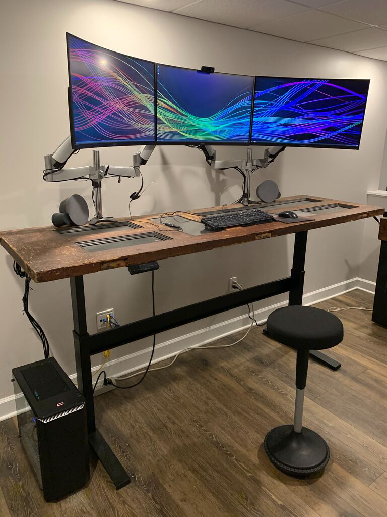 "Custom DIY Top with 27.5"" x 69.125"" Black VertDesk Standing Desk Frame"
