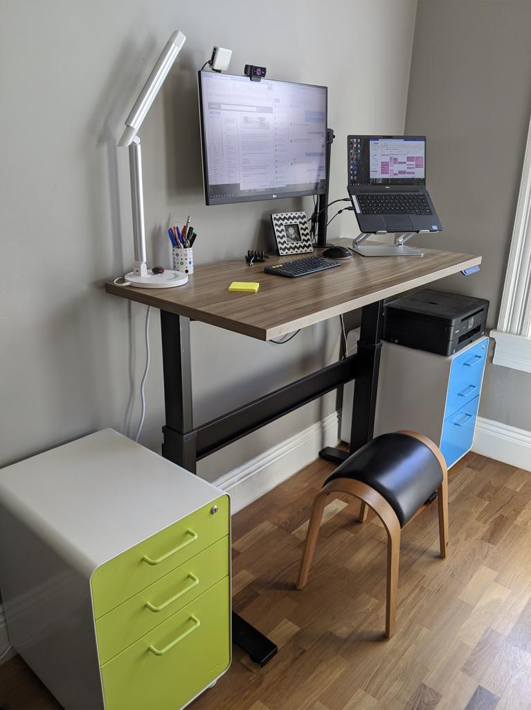 "24"" x 48"" Macchiato Laminate Top with Black VertDesk Standing Desk Frame"