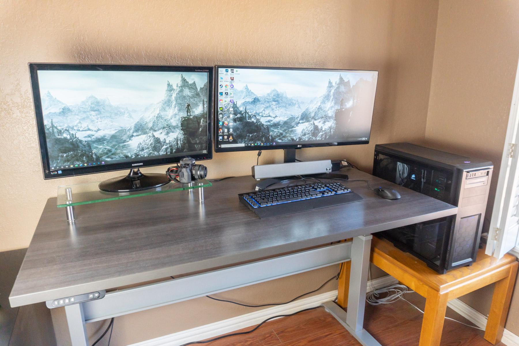 "30"" x 60"" Driftwood Laminate Top with Silver VertDesk Standing Desk Frame"