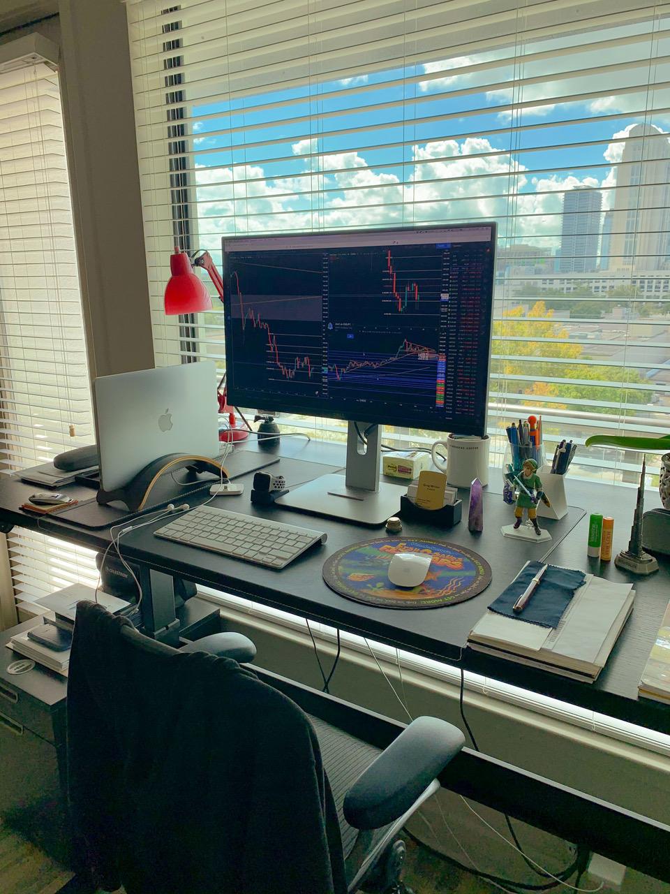 """30"""" x 60"""" Black Laminate Top with Black VertDesk Adjustable Desk Frame"""