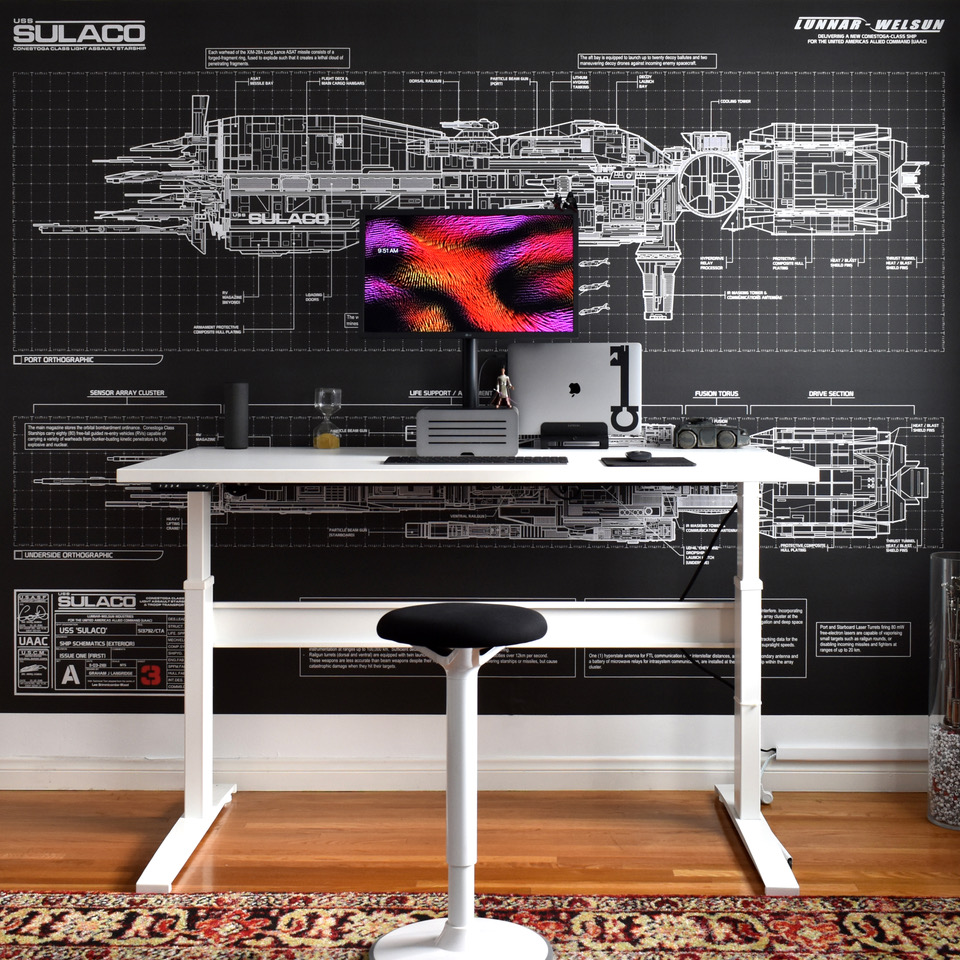 "30"" x 60 Galaxy White Laminate Top with White VertDesk Standup Desk Frame"