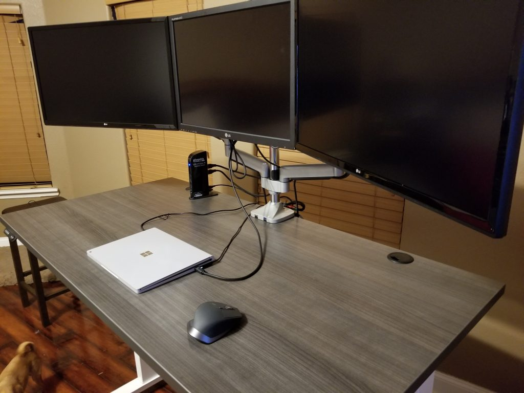 "30"" x 60"" Driftwood Laminate Top with White VertDesk Standing Desk Frame"
