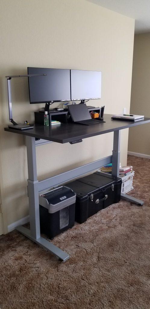 "30"" x 60"" Driftwood Laminate Top with Silver VertDesk Adjustable Desk Frame"