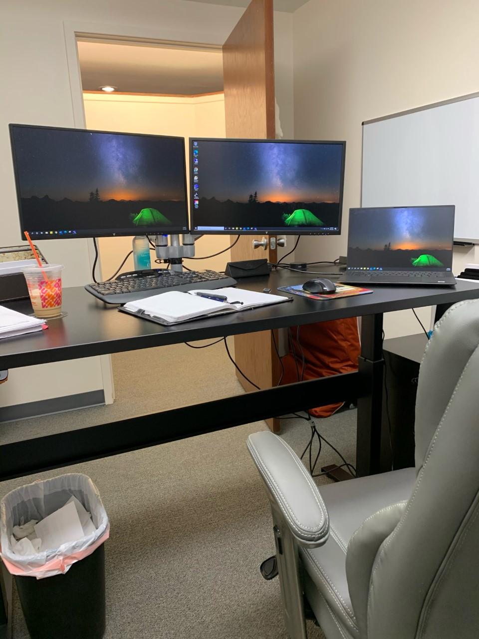 """30"""" x 60"""" Black Laminate Top with Black VertDesk Adjustable Height Desk Frame"""