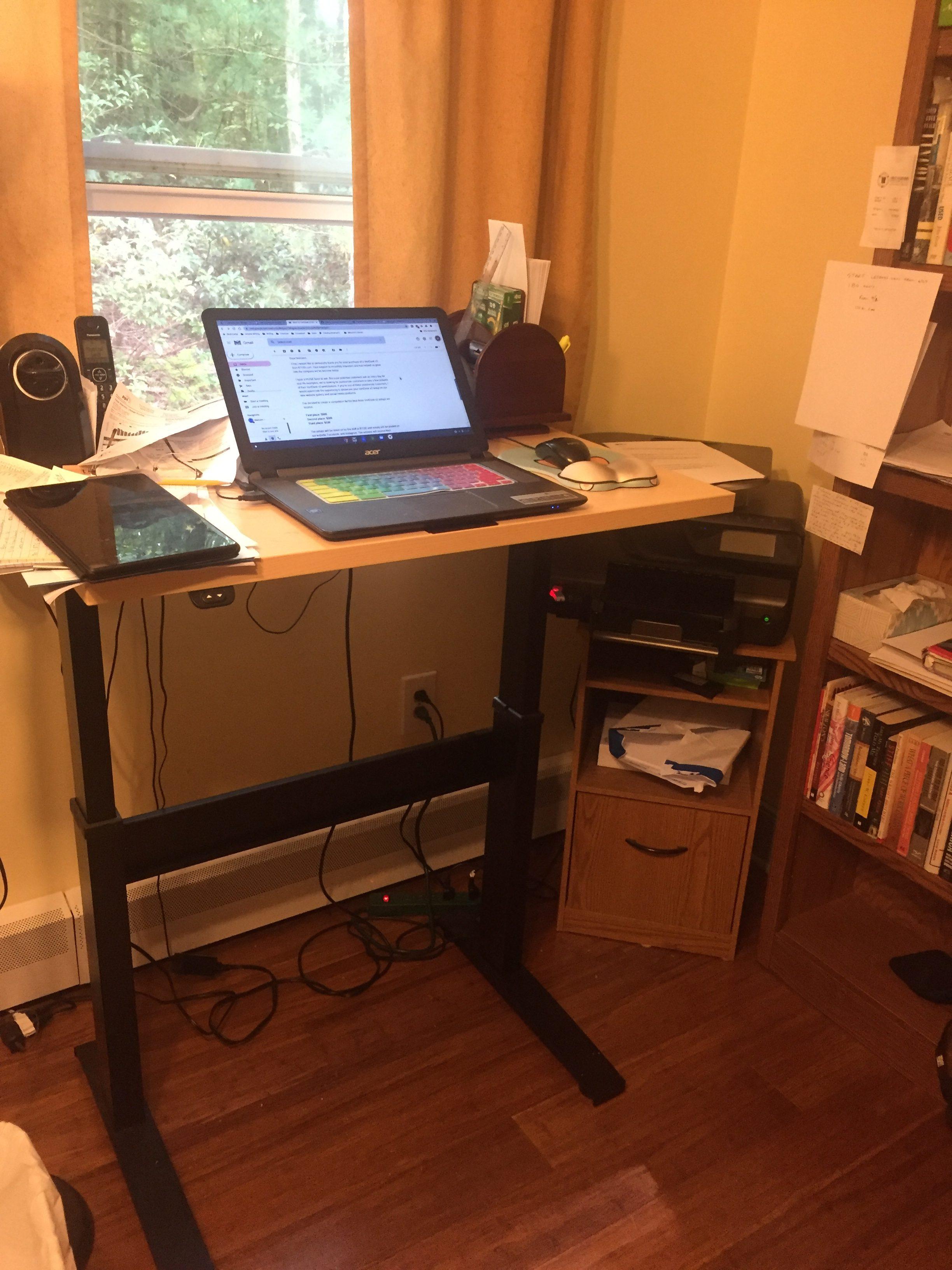 """24"""" x 36"""" Hardrock Maple Laminate Top with Black VertDesk Adjustable Desk Frame"""