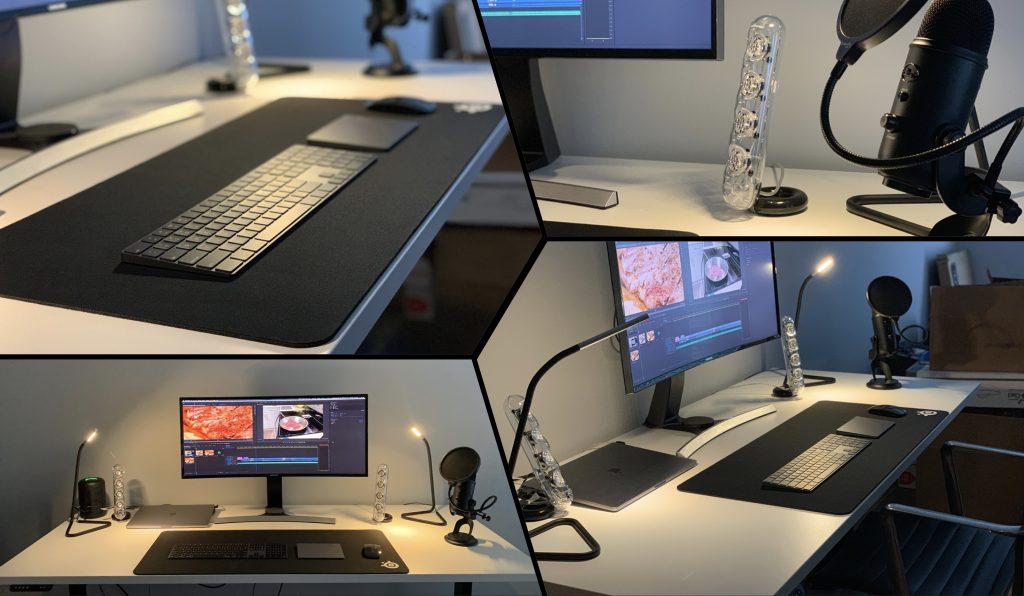 "30"" x 72"" Galaxy White Laminate Top with Black VertDesk Adjustable Desk Frame"