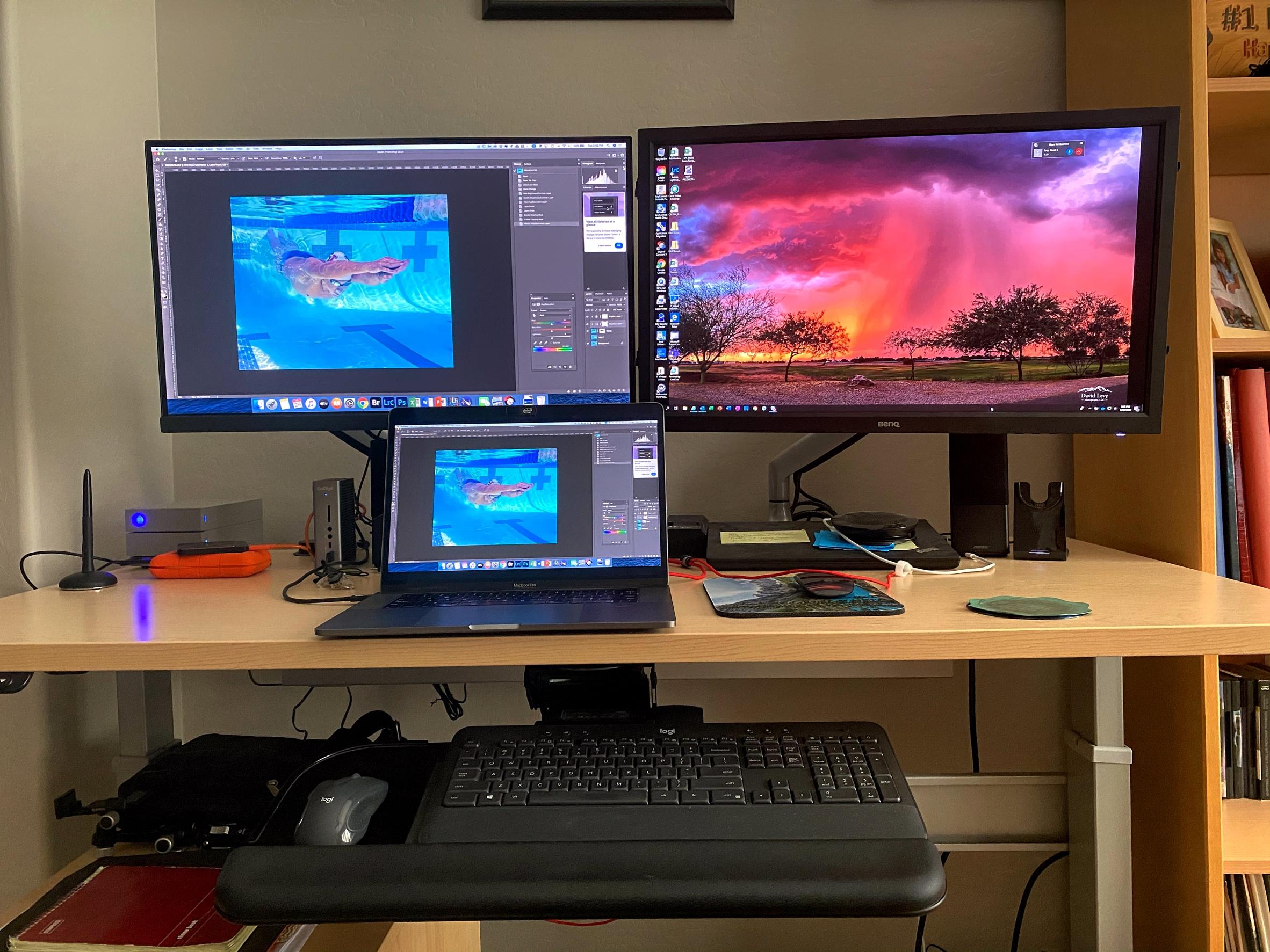 "30"" x 60"" Hardrock Maple Laminate Top with Silver VertDesk Adjustable Desk Frame"