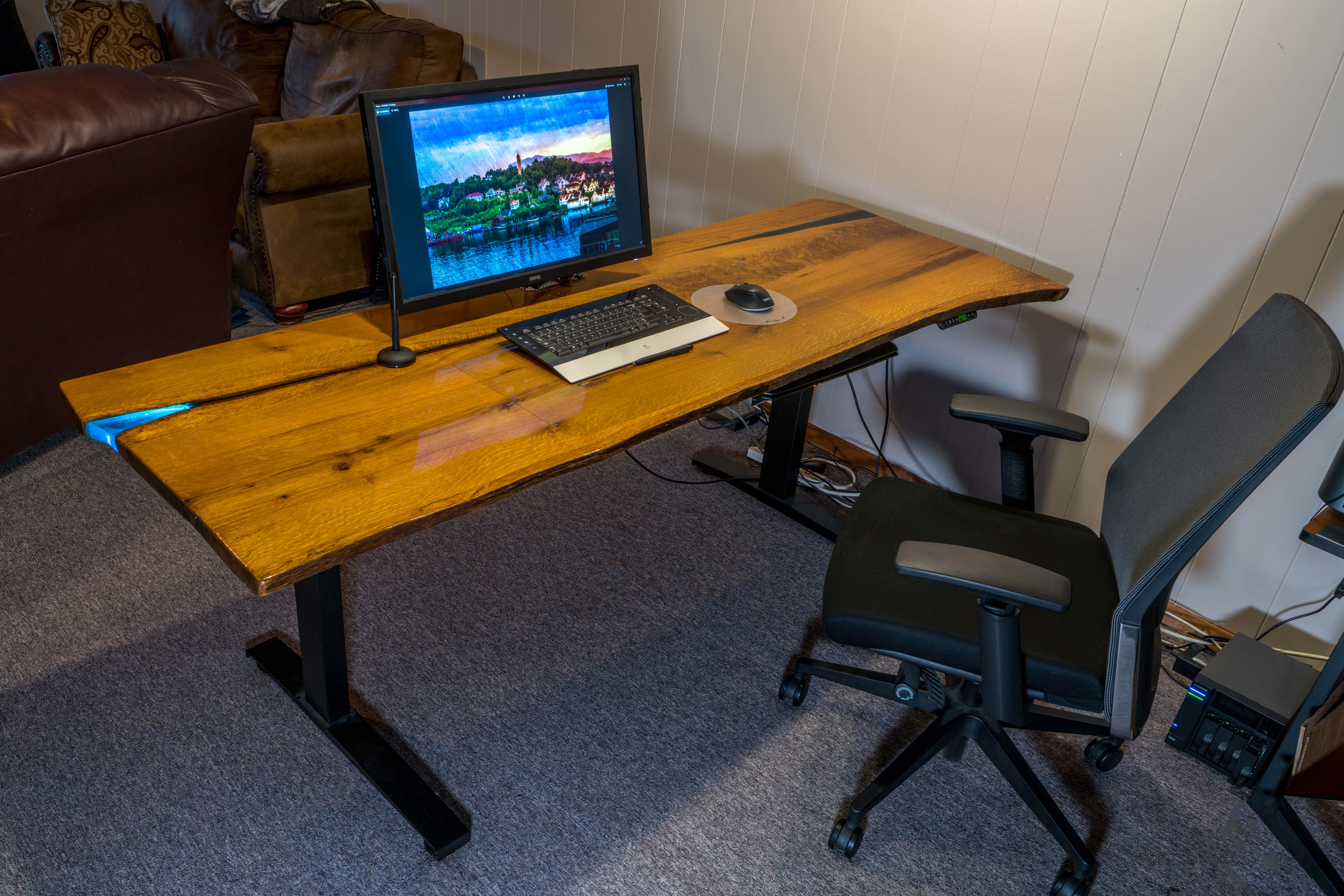 "Custom DIY Top with 27.5"" x 57.125"" Black VertDesk Electric Adjustable Desk Frame"