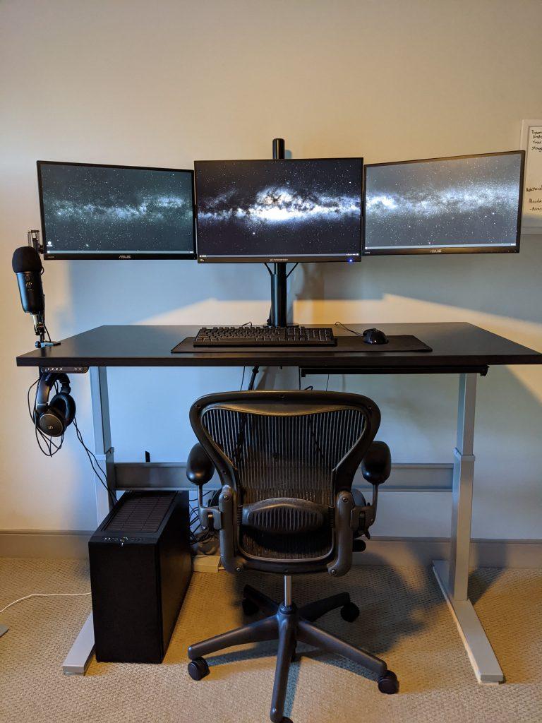 "30"" x 60"" Cherry Laminate Top with Black VertDesk Standing Desk Frame"