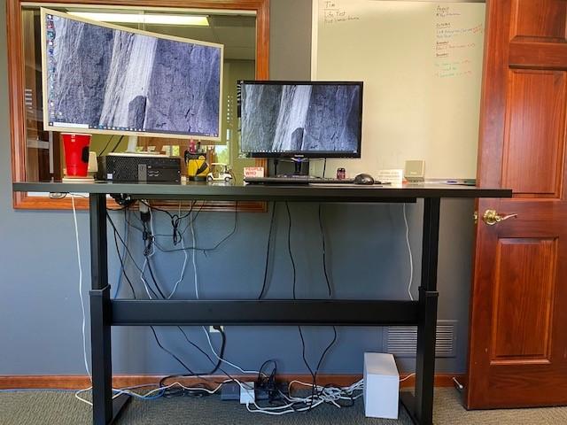 """30"""" x 60"""" Black Laminate Top with Black VertDesk Height Adjustable Desk Frame"""