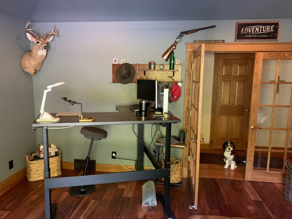 "24"" x 48"" x 60"" x 24"" L Shape Driftwood Laminate Top with Black VertDesk Standing Desk Frame"