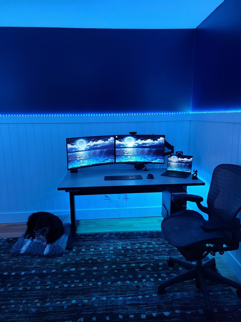 "30"" x 60"" Grey Matrix Laminate Top with Black VertDesk Electric Stand Up Desk Frame"