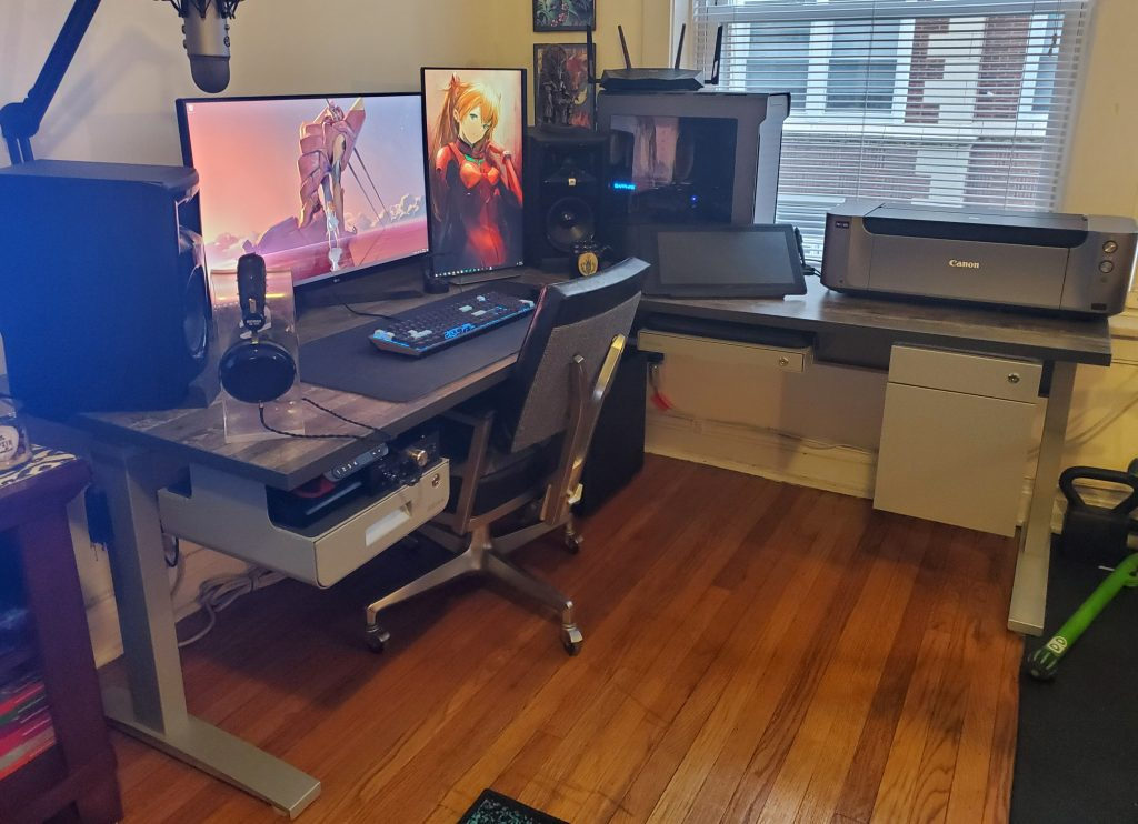"30"" x 72"" x 72"" x 24"" L Shape Reclamation Maple Laminate Top with VertDesk Standing Desk Frame"