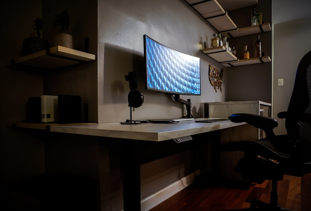 "Custom DIY Top with 22.5"" x 57.125"" Black VertDesk Standing Desk Frame"