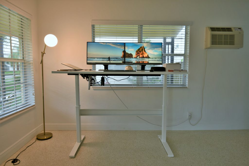 """30"""" x 72"""" Galaxy White Laminate Top with White VertDesk Sit to Stand Frame"""