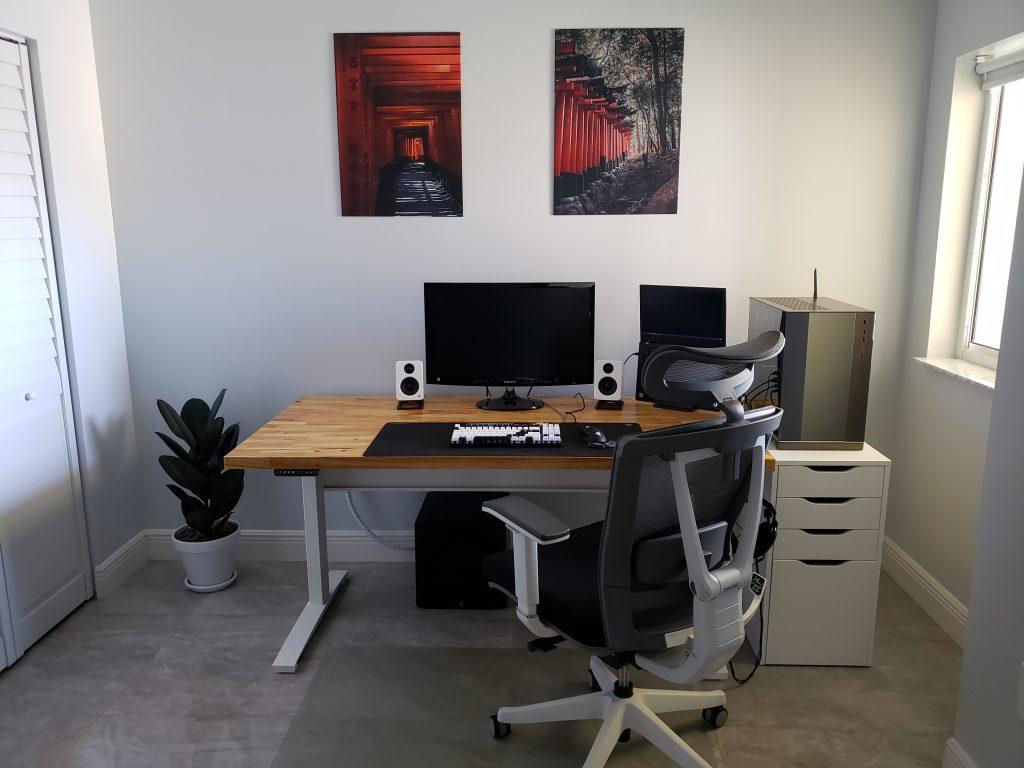 """Custom DIY Top with 27.5"""" x 57.125"""" White VertDesk Standing Desk Frame"""