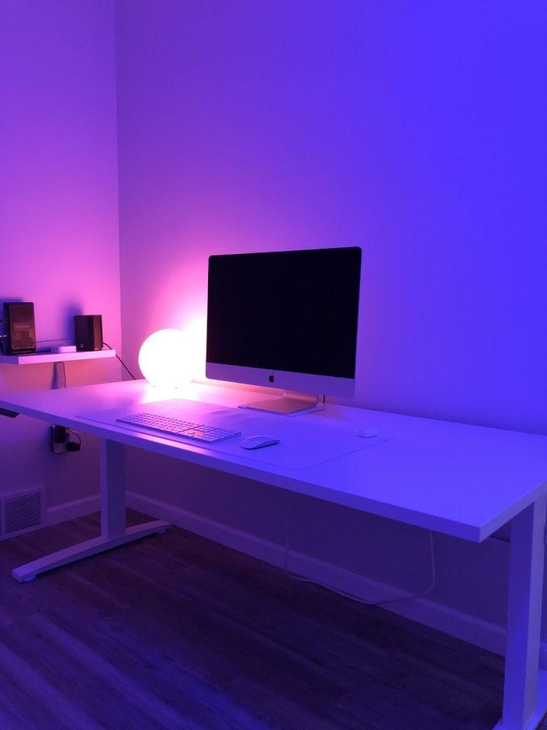 "30"" x 72"" Galaxy White Laminate Top with White VertDesk Standup Desk Frame"
