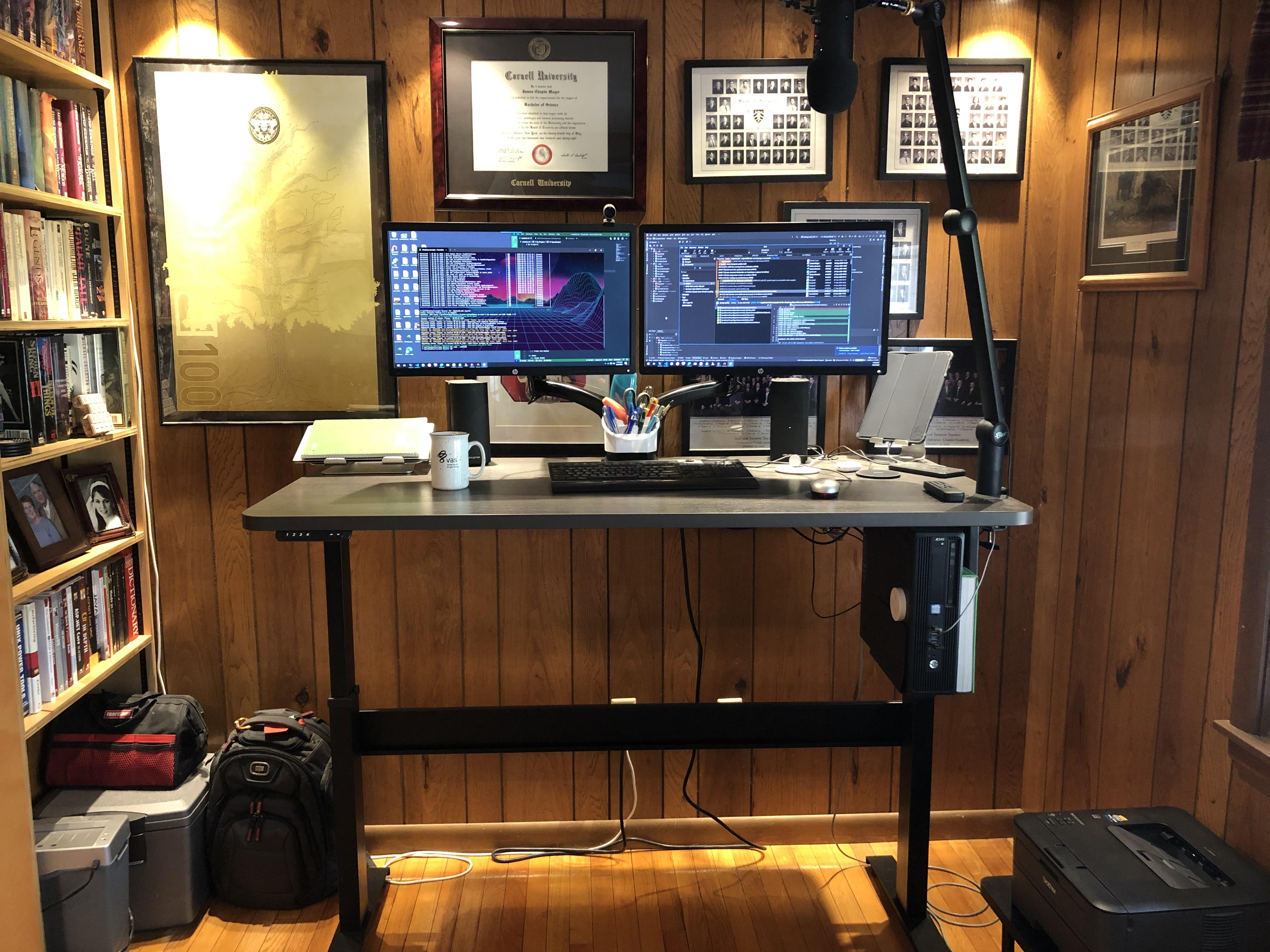 "30"" x 60"" Driftwood Radius Corner Laminate Top with Black VertDesk Standup Desk Frame"