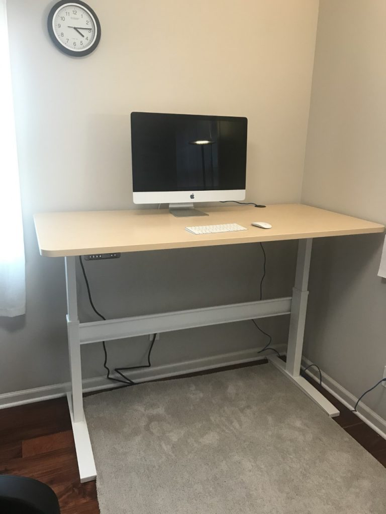 "30"" x 66"" Hardrock Maple Radium Corner Laminate Top with White VertDesk Standup Desk Frame"